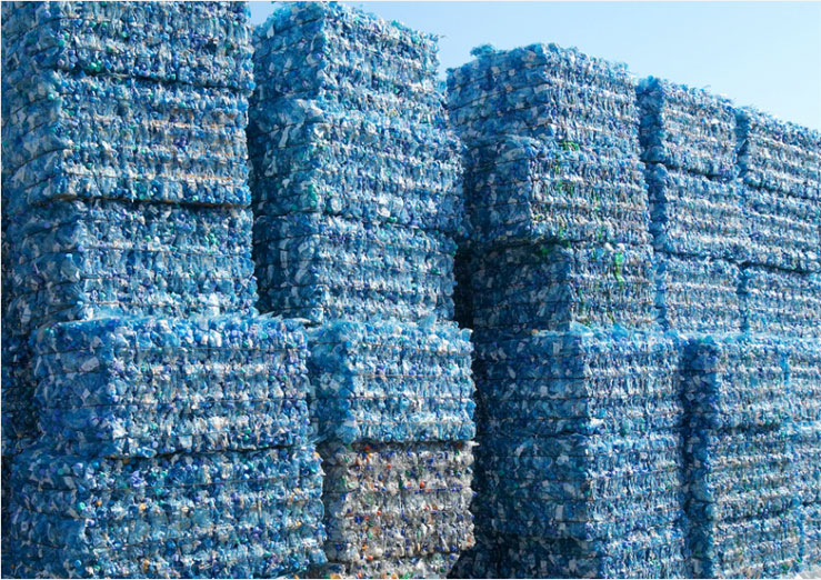 Wall of Waste Plastic Packaging